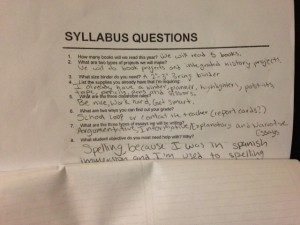 Reviewing the syllabus