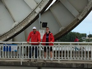 Author and Liam on Pegasus Bridge
