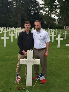 Liam and the author at S. Sgt. Reeves's grave