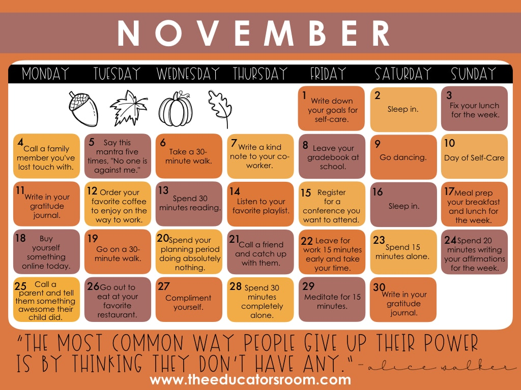 November Self-Care Calendar